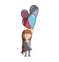 pretty girl with hairstyle and balloons vector image
