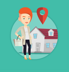 realtor on background of house with map pointer vector image
