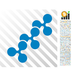Ripple chain flat icon with bonus vector