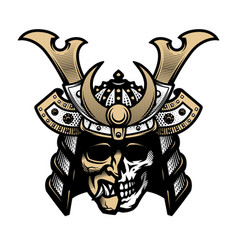 samurai skull traditional armor japanese vector image