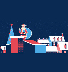 santa claus with sack standing on ronear vector image
