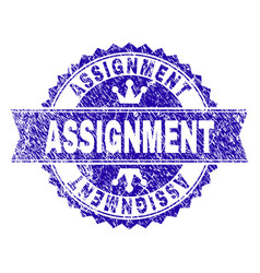 Scratched textured assignment stamp seal vector