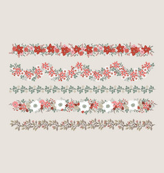 set christmas floral borders strings garlands vector image