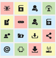 Set of 16 editable global icons includes symbols vector