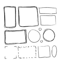 Set of black hand-drawn frames in different vector