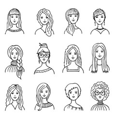 Set of isolated people images vector
