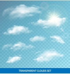 Set of realistic transparent clouds vector