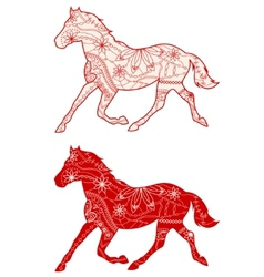Set of red horses vector image