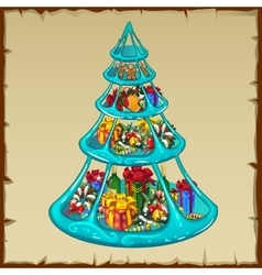 Set of toys and gifts on plate in Christmas tree vector