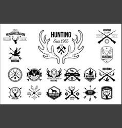 Set of vintage emblems for hunting club vector
