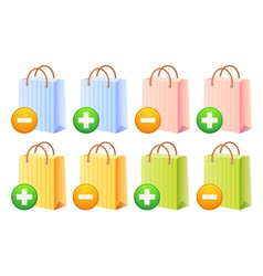 Shopping bags and button vector image