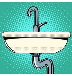 Sink washing with faucet water vector