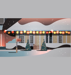 snow covered night house yard in winter season vector image
