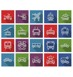 Square dotted icons set some transport vector