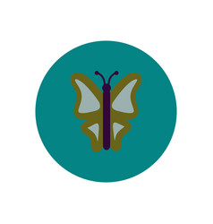 Stylish icon in color circle botanic butterfly vector