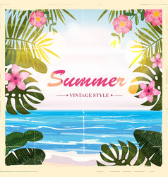 Summer retro poster background flowers vector