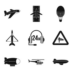 Supersonic aircraft icons set simple style vector