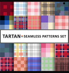 Tartan seamless pattern background set vector