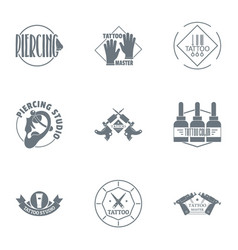 Tattooed logo set simple style vector