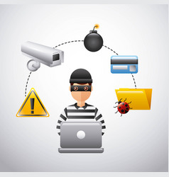 thief hacking data technology fraud vector image