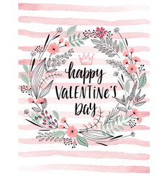 valentines day callygraphic wreath - hand drawn vector image
