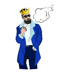 Vaping hipster with a crown vector