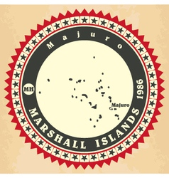 Vintage label-sticker cards of Marshall Islands vector image