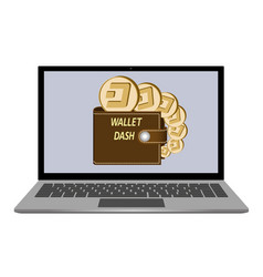 Wallet with dash coins on a laptop screen vector