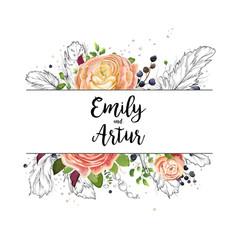 Wedding watercolor floral invitation card design vector