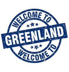 Welcome to greenland blue stamp vector