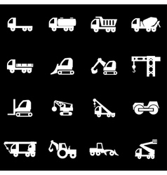 white construction transport icon set vector image