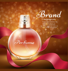 aroma sweet perfume with red silk ribbon romantic vector image vector image