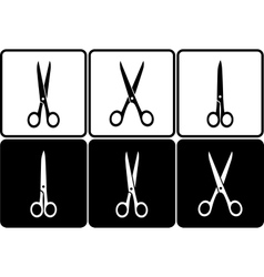 black and white scissors icons vector image vector image