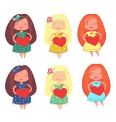 cute little girls vector image