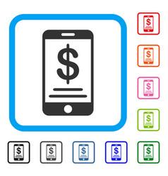 dollar mobile wallet framed icon vector image vector image