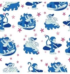 Fun Surfing Monkeys Starfish Seamless vector image