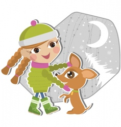 girl playing with a puppy vector image