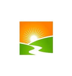 sun shine landscape nature abstract logo vector image