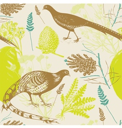 Vintage Birds Wilderness Pattern vector image vector image