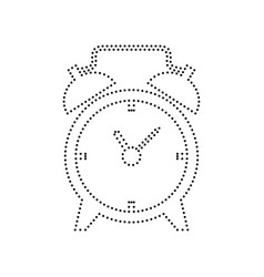 alarm clock sign black dotted icon on vector image