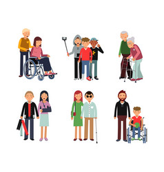 disabled person with his helpful friends or vector image