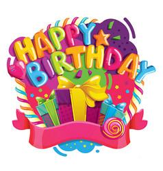 happy birthday color vector image