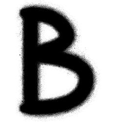 sprayed B font graffiti in black over white vector image