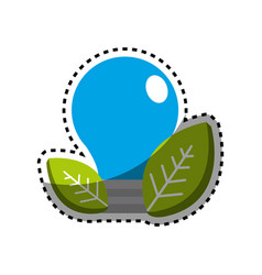 sticker save bulb with leaves icon vector image