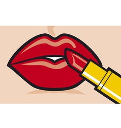 woman applying red lipstick vector image