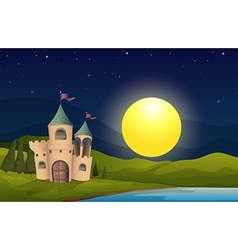 A castle in the middle of the hill vector