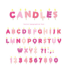 birthday candles font design abc letters and vector image vector image