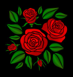 embroidered red rose flowers set vector image vector image