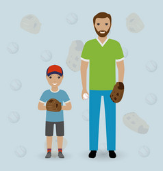 Father and his little son going to play baseball vector