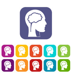 head with brain icons set flat vector image vector image